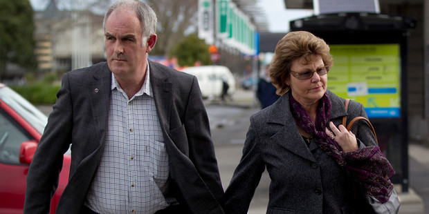 Kerry and Marlene Macdonald leave Palmerston North District Court after supporting their son during yesterday's hearing. Photo / Sarah Ivey