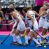 New Zealand Black Sticks celebrate the first goal from Charlotte Harrison against South Africa. Photo / Brett Phibbs.
