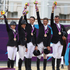 New Zealand's Jonelle Richards, Caroline Powell, Jonathan Paget, Andrew Nicholson and Mark Todd after winning Bronze in the Equestrian Eventing.Photo / Brett Phibbs.