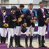 New Zealand's Jonelle Richards, Caroline Powell, Jonathan Paget, Andrew Nicholson and Mark Todd after winning Bronze. Photo / Brett Phibbs.