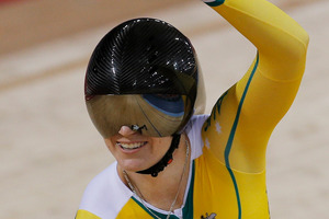 Australia's Kaarle McCulloch celebrates after winning the bronze medal in the track cycling women's team's sprint event. Photo / AP