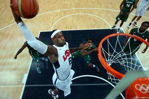 Lebron James dunks against Nigeria. Photo / AP.