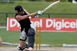New Zealand's Martin Guptill hits in the nets. Photo / AP.