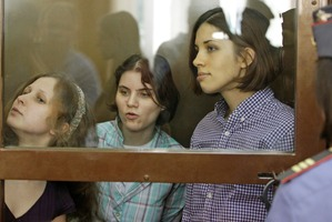 From left, Maria Alekhina, Yekaterina Samutsevich, Nadezhda Tolokonnikova, members of feminist punk group Pussy Riot. Photo / AP