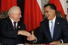 Republican presidential candidate Mitt Romney meets with Poland's former President Lech Walesa. Photo / AP