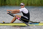 New Zealand rower Mahe Drysdale in action in the Semifinal of the Men's Single Sculls. Photo / Brett Phibbs
