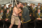 The Springbok rugby team at Te Raukura in Wellington. Photo / Mark Mitchell
