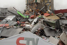 The collapsed CTV building. Photo / Geoff Sloan.