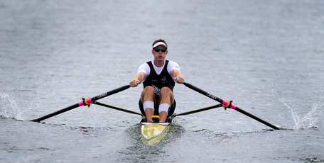New Zealand rower Mahe Drysdale in action in Heat 4 of the Men's Single Sculls, at Eton Dorney during the 2012 London Olympics. 28 July 2012 New Zealand Herald Photograph by Brett Phibbs &#