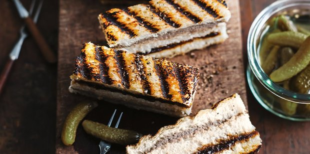 Pate and caramelised onion fingers. Photo / Ben Dearnley