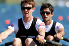 Storm Uru and Peter Taylor will race in the men's lightweight double sculls final at 11.10pm. Photo / Mark Mitchell.
