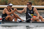 Nathan Cohen, left and Joseph Sullivan celebrate after winning a gold medal in the men's double scull. Photo / Mark Mitchell