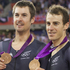 New Zealand men's track cyclists, from left, Jesse Sergeant, Aaron Gate, Sam Bewley and Marc Ryan after their bronze medals. Photo / Mark Mitchell
