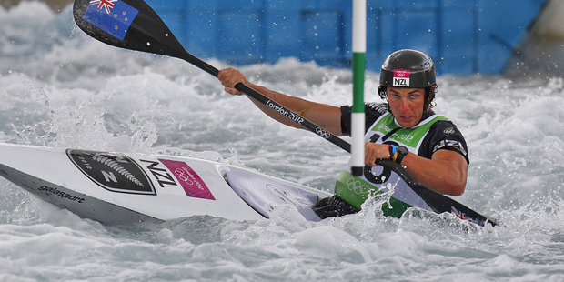 Mike Dawson goes through the kayak slalom course. Photo / Mark Mitchell
