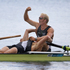 New Zealand rowing men's pair of Hamish Bond and Eric Murray celebrate after winning gold at the London Olympics. Source / Brett Phibbs NZ Herald