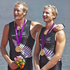 Hamish Bond and Eric Murray celebrate on the podium after earning New Zealand its second Olympic gold medal. Source / Brett Phibbs NZ Herald