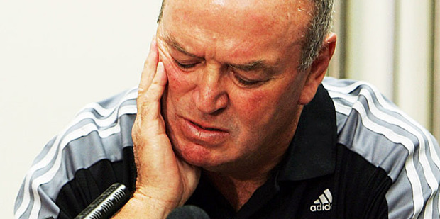 Graham Henry fronts a press conference in Christchurch after the All Blacks lost to France in the 2007 Rugby World Cup. Photo / Getty