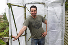 Free bamboo provides a sturdy framework for Justin's propagation house. Photo / Richard Robinson