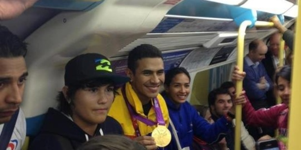 Ruben Limardo shares his gold medal winning effort with commuters in London - to their surprise and appreciation. Photo / supplied