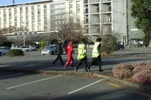 Students outside Canterbury University. Photo / Christchurch Star