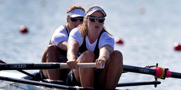 Rebecca Scown and Juliette Haigh will race in the women's pair final tonight. Photo / Brett Phibbs