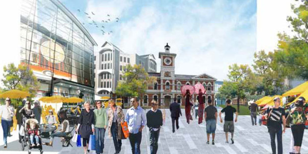 Loading An illustrative concept of the planned Square in Christchurch. Photo / CERA