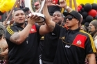 Hundreds of Chiefs fans turned out to cheer on the Super Rugby champions, the Chiefs Rugby team in a victory parade for the team in Hamilton.