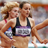 New Zealand's Lucy van Dalen (black) during her women's 1500m heat. Photo / Mark Mitchell