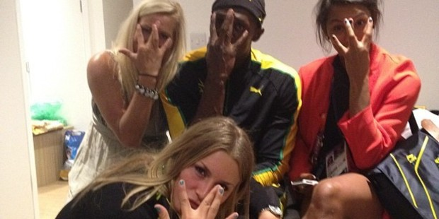 Usain Bolt posted this photo of himself with fans from the Swedish women's handball team. Photo / Instagram / UsainBolt