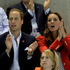 Britain's Prince William, center second left, and wife Kate, Duke and Duchess of Cambridge, watch the women's 200-meter backstroke final at the Aquatics Centre in the Olympic Park. Photo / AP