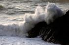 Rough seas off Paritutu Rock in New Plymouth. Photo / Rob Tucker