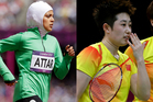 Sarah Attar (Left) was the first woman from Saudi Arabia to compete in track and field at the Olympics, while China's Yu Yang was disqualified for trying to lose her badminton match. Photo / AP.