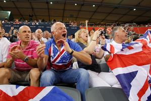 British fans showing their support. Photo / Mark Mitchell