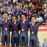 New Zealand men's track cyclists, from left, Sam Bewley, Marc Ryan, Jesse Sergeant and Aaron Gate after their bronze medal ride. Photo / Mark Mitchell.