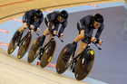 New Zealand 3000m women's team pursuit riders, from left, Lauren Ellis, Alison Shanks, and Jaime Nielson in action during their first round at the Olympic Park Velodrome. Photo / Mark Mitchell.