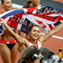 Great Britain's Jessica Ennis jubilant after winning her Heptathlon 800m to take the gold medal. Photo / Mark Mitchell.