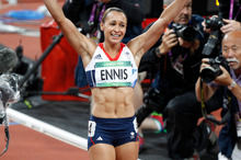 Great Britain's Jessica Ennis was jubilant after winning her heptathlon 800m to take the gold medal on Saturday. Photo / Mark Mitchell