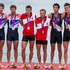 Silver medallists Great Britain Mark Hunter and Zac Purchase, Gold Denmark Rasmus Quist and Mads Rassmussen with New Zealand rowers Storm Uru and Peter Taylor. Photo / Brett Phibbs.