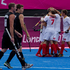 Belgium celebrates scoring against New Zealand. Photo / Brett Phibbs.