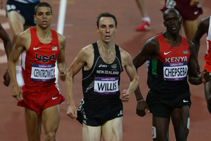 Nick Willis (centre) says he's very happy to have secured his spot in the men's 1500m final. Photo / Brett Phibbs