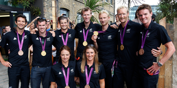 New Zealand's rowing medalists. Photo / AP.