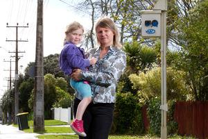 Jennifer Conlon and daughter Emma want more active traffic calming measures in their neighbourhood. Photo / Steven McNicholl