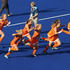 Netherlands celebrate their win against the New Zealand Black Sticks, during the penalty shootout. Photo / Brett Phibbs.
