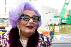 Dame Edna arrives at the Auckland Town hall today. Photo / Steven McNicholl