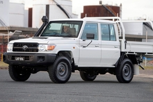 LC79 is a double cab version of the rugged 70 Series cab-chassis ute favoured by contractors and farmers. Photo / Supplied
