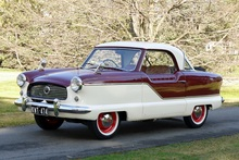 The Nash Metropolitan is one of the few right-hand-drive models made, and is ready to drive away.