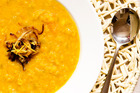 Lemon, red lentil and pumpkin soup. Photo / Babiche Martens
