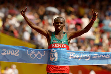 Sammy Wanjiru winning at the Beijing Olympics in 2008. Photo / Getty Images