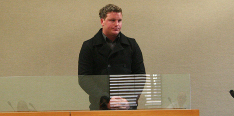 Callum Boe in the dock at the Queenstown District Court as he is sentenced to two years in prison. Picture / Mountain Scene