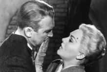 Jimmy Stewart, left, and Kim Novak in a scene from Alfred Hitchcock's 1958 'Vertigo'. Photo / AP